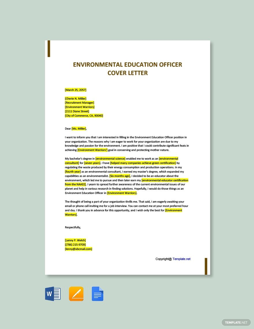 Free environmental education officer cover letter template