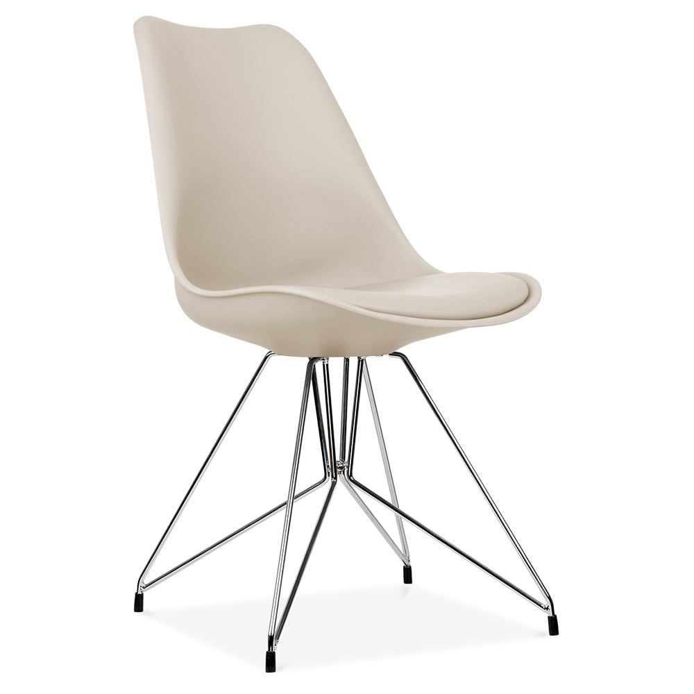 Eames Inspired Beige Dining Chair with Geometric Metal Legs