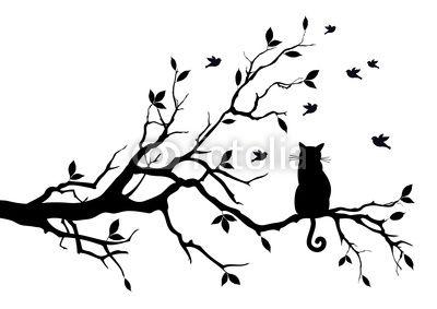 Kocie marzenia mod les pochoir arbre tatouage chat et tattoo chat - Dessin chat assis ...