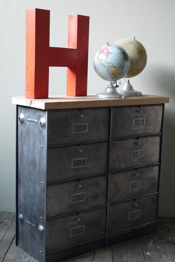 meuble console 8 casiers industriel clapet roneo plateau chene massif pinterest. Black Bedroom Furniture Sets. Home Design Ideas
