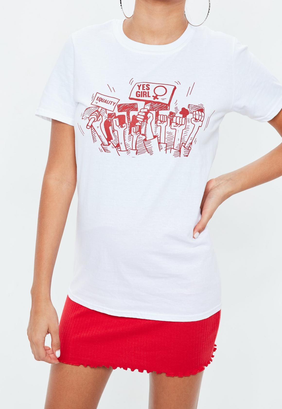 802acdf7 A white graphic t-shirt featuring a yes girl print, short sleeves and loose  fit.