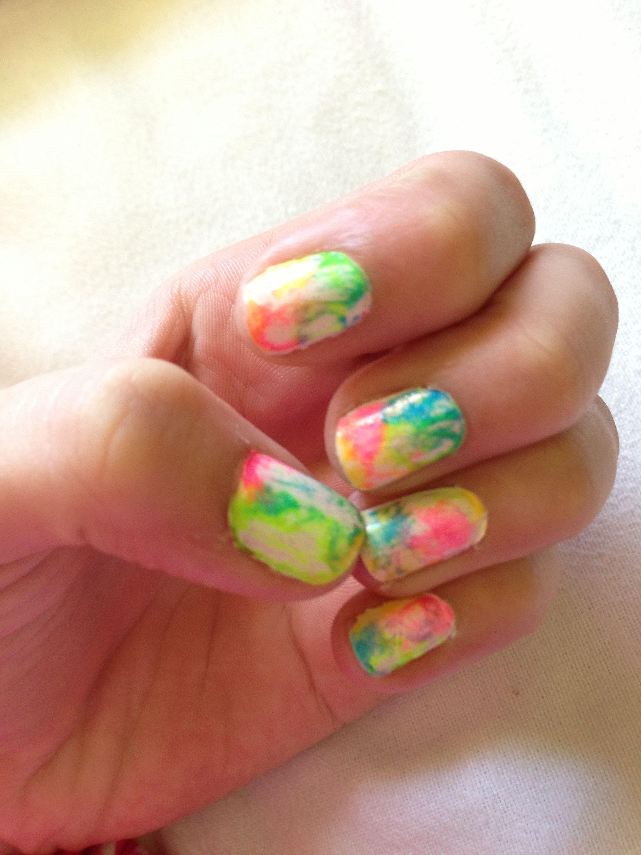 Tye dye nail art with just plastic trash bags:). add little dots of ...