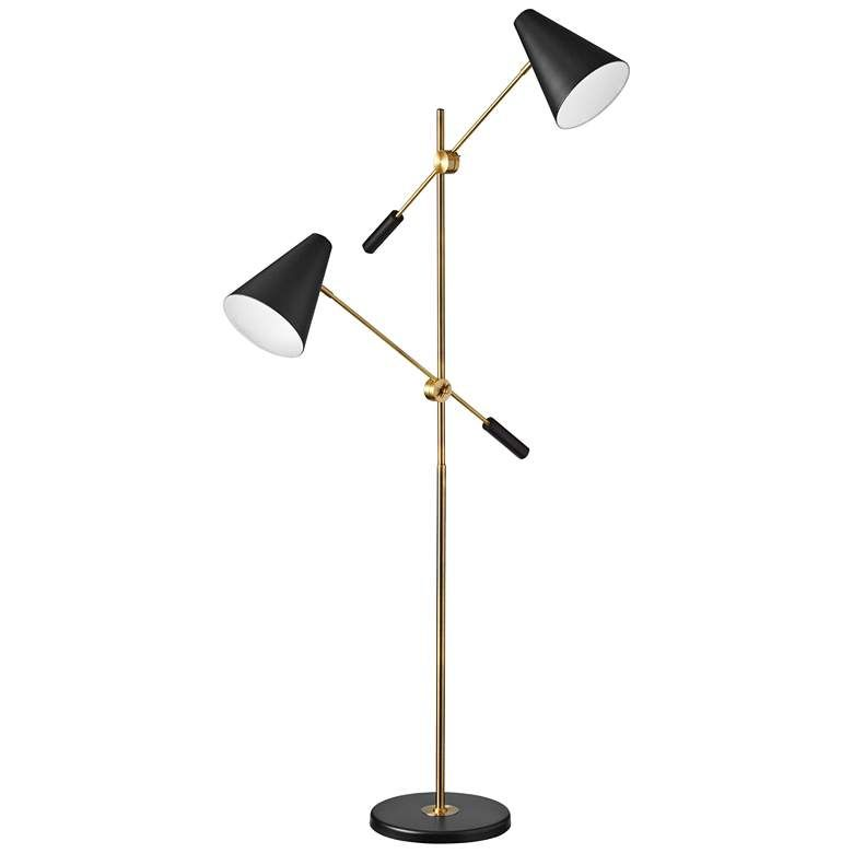 Mezza Vintage Bronze 2 Light Modern Floor Lamp 60a53 Lamps Plus Modern Floor Lamps Floor Lamp Floor Lamp Styles