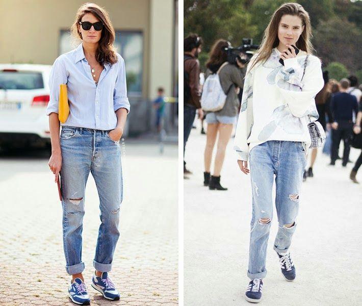 Sneaker outfit inspiration boyfriend jeans | Streetstyle | Pinterest