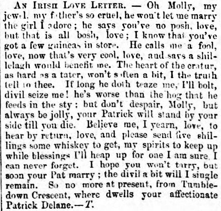 This Amusing Irish Love Letter Was Printed In The Waterford