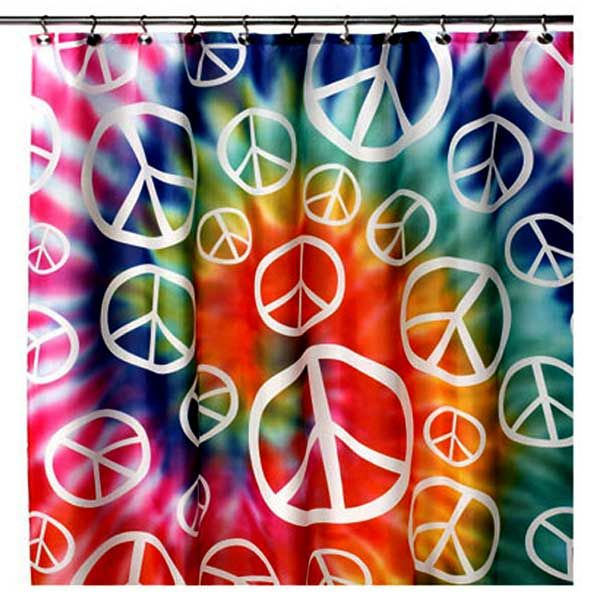 Tie Dye Peace Sign Hippie Shower Curtain
