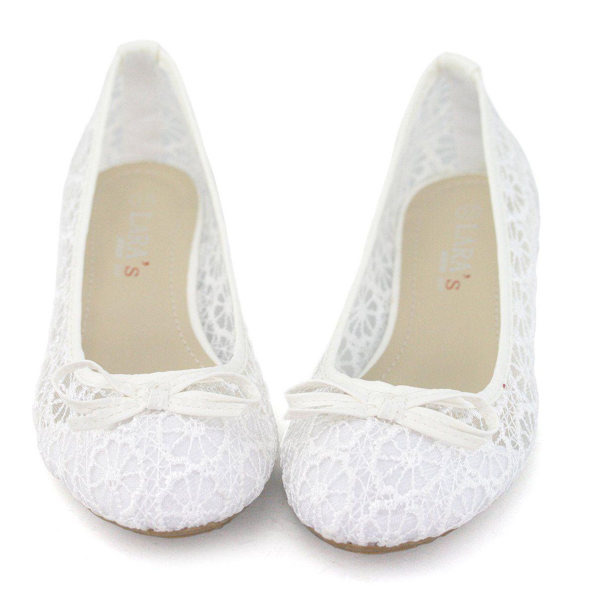 Shoezy Womens Fl Lace Ballet Flats Wedding Breathable Shoes Pumps White Us 8