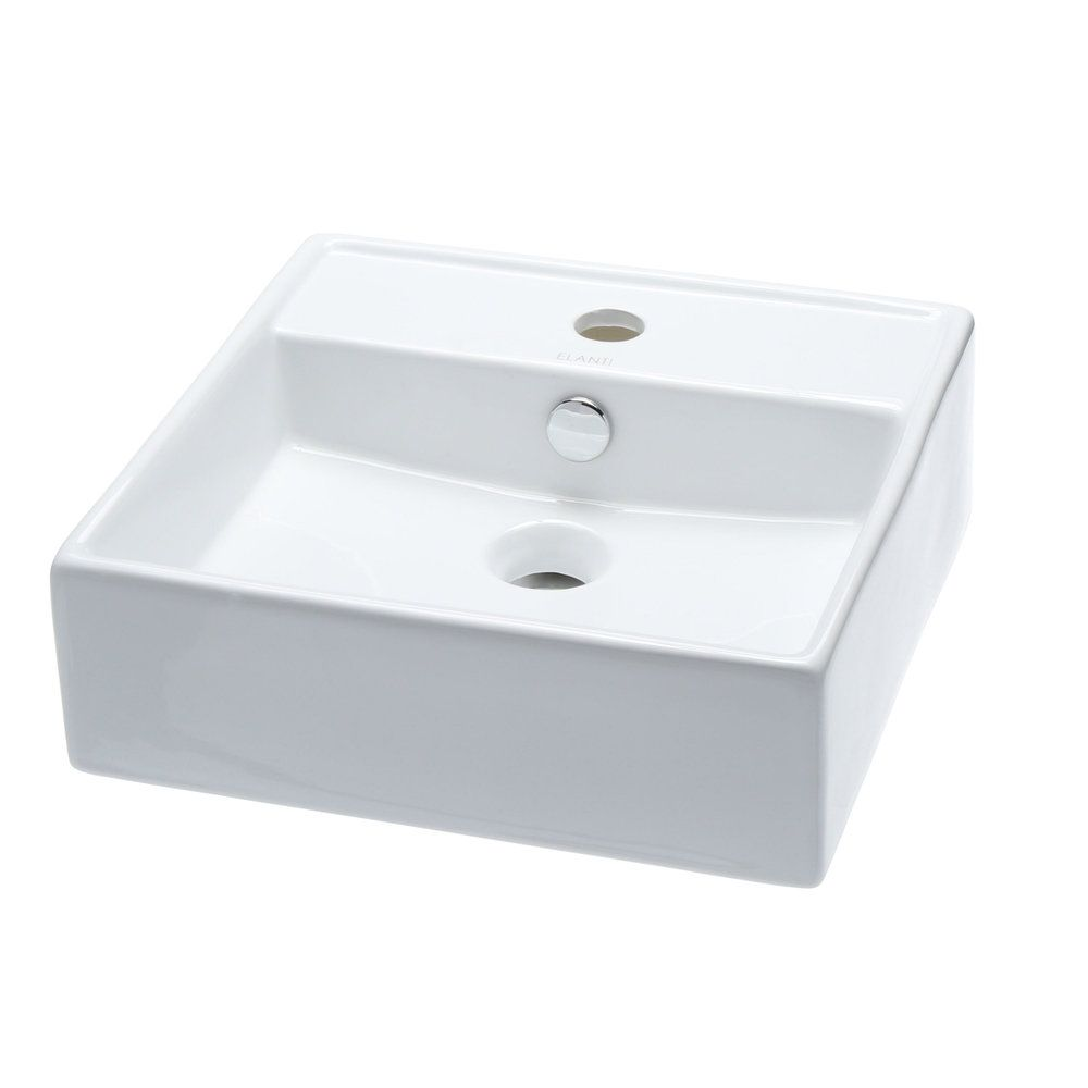 Elanti Wall Mounted Square Bathroom Sink In White Square
