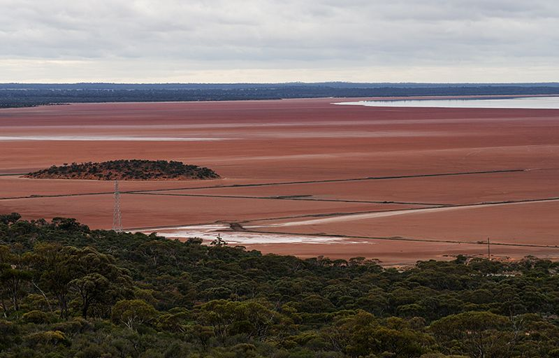 Lake Lefroy is a huge salt lake near the mining town of