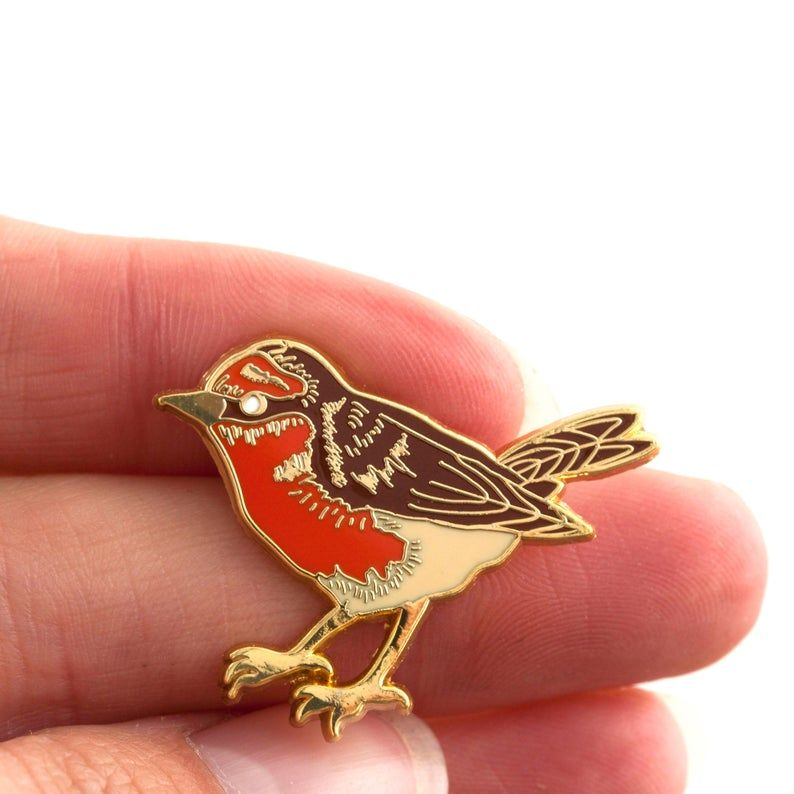 AMERICAN ROBIN BIRD HAT PIN LAPEL PINS