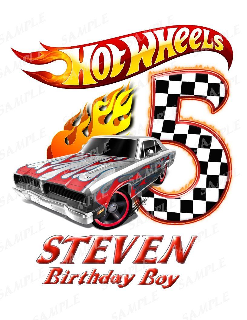 Hot Wheels Birthday Boy Iron On Transfer Printable Png Any Name Age Hot Wheels Birthday Hot Wheels Hot Wheels Themed Birthday Party