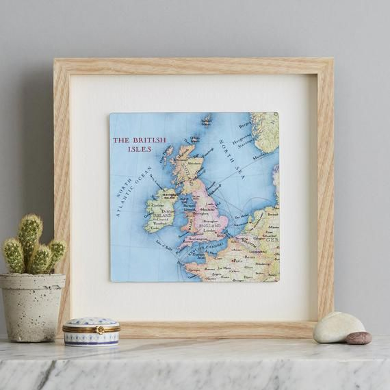 British isles UK Map Print, choose a heart or square print - Custom map anniversary, wedding gift fo #britishisles
