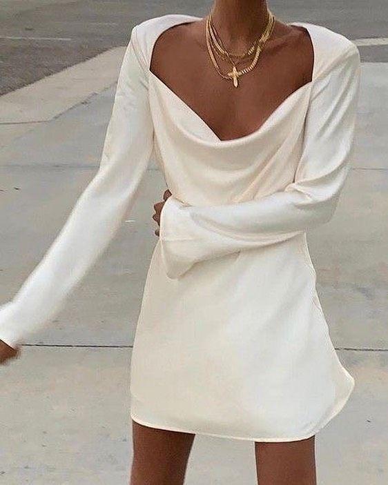 Chic White Silk Dress