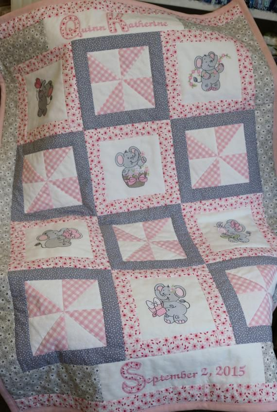 Baby Quilt Personalized Crib Quilt Baby Blanket Applique Quilt Pink Gray Elephant And Pinwhe Girl Quilts Patterns Baby Quilt Patterns Personalized Quilt