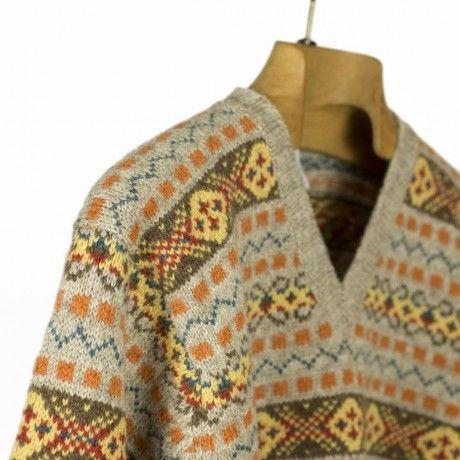 "Jamieson's ""The Duke"" Fair Isle v-neck sweater, greige, orange ..."