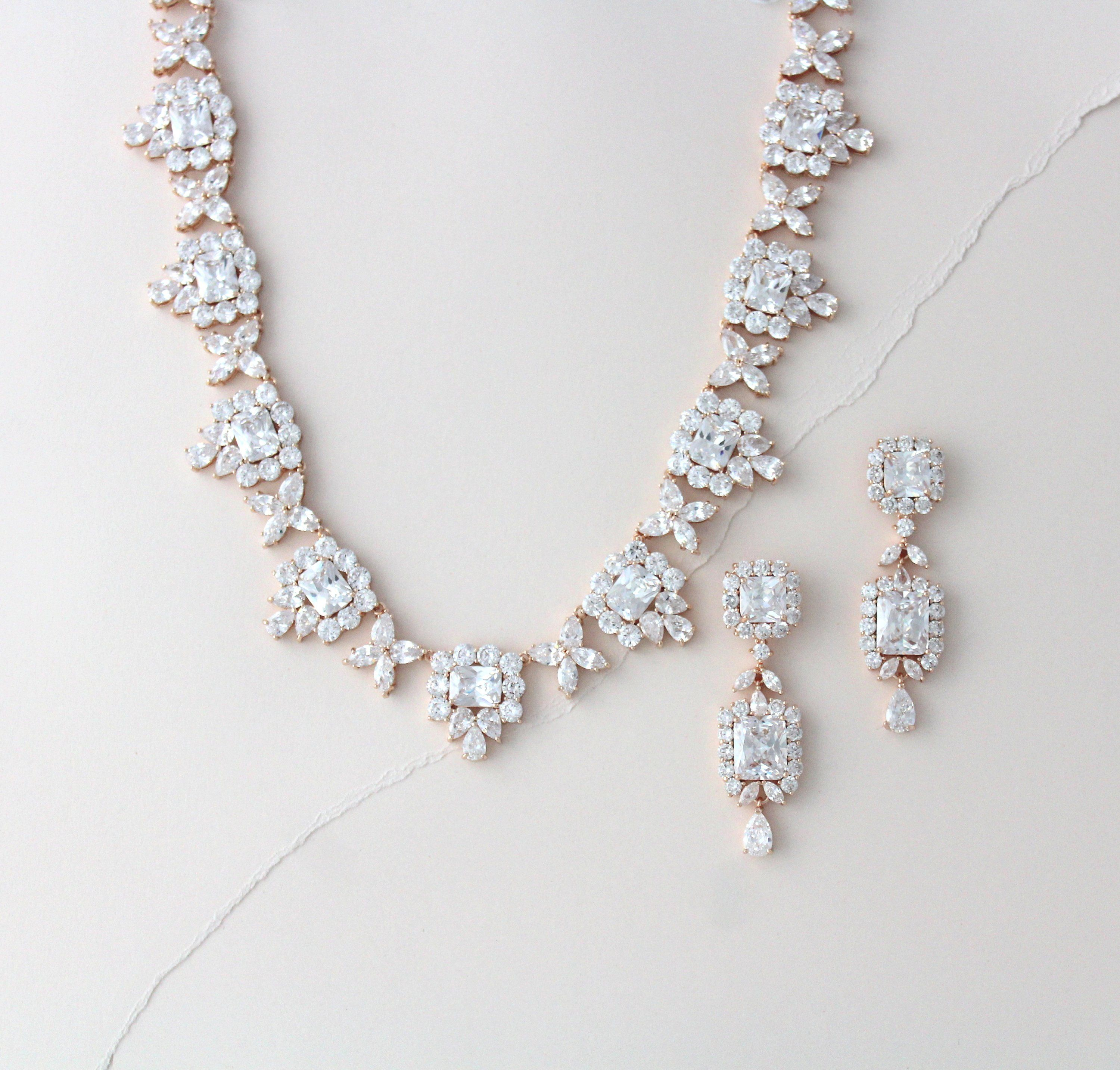 371ee9f0a Rose gold necklace and earring set Bridal jewelry Bridal necklace set  Crystal necklace Statement necklace Vintage style Wedding jewelry by  TheExquisiteBride ...