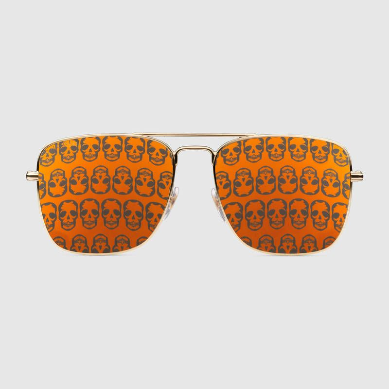 96665b3a51cdcc  400 GUCCI Skull Sunglasses, Square-frame metal sunglasses SOLD by GUCCI -  affiliate - Gold metal frame Gold metal temples Orange lens 100% UVA UVB ...