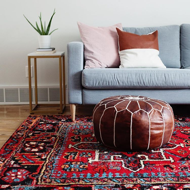 Scandi Boho Scandinavian Bohemian Living Family Room With Bold Red Antique Vintage Style Persian Rug Living Room Red Rug Living Room Living Room Scandinavian