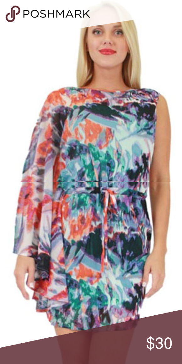 NWT BCBG FLORAL Mini Dress This is a mini dress that is so unique with one hand sleeveless and the other long loose sleeve. The dress is so colorful with so many beautiful colors and floral prints that will make you stand out at any occasion.  The body is sheer with full lining.  the sleeve is also sheer.  This dress is very gorgeous.   Bundle discounts available.   Please make offers. BCBG Dresses Mini