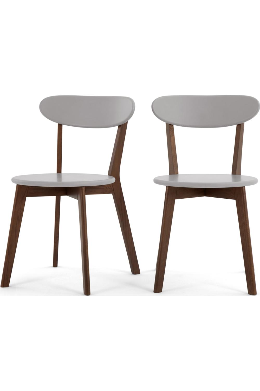 Fjord Lot De 2 Chaises Chene Teinte Et Gris Dining Chairs