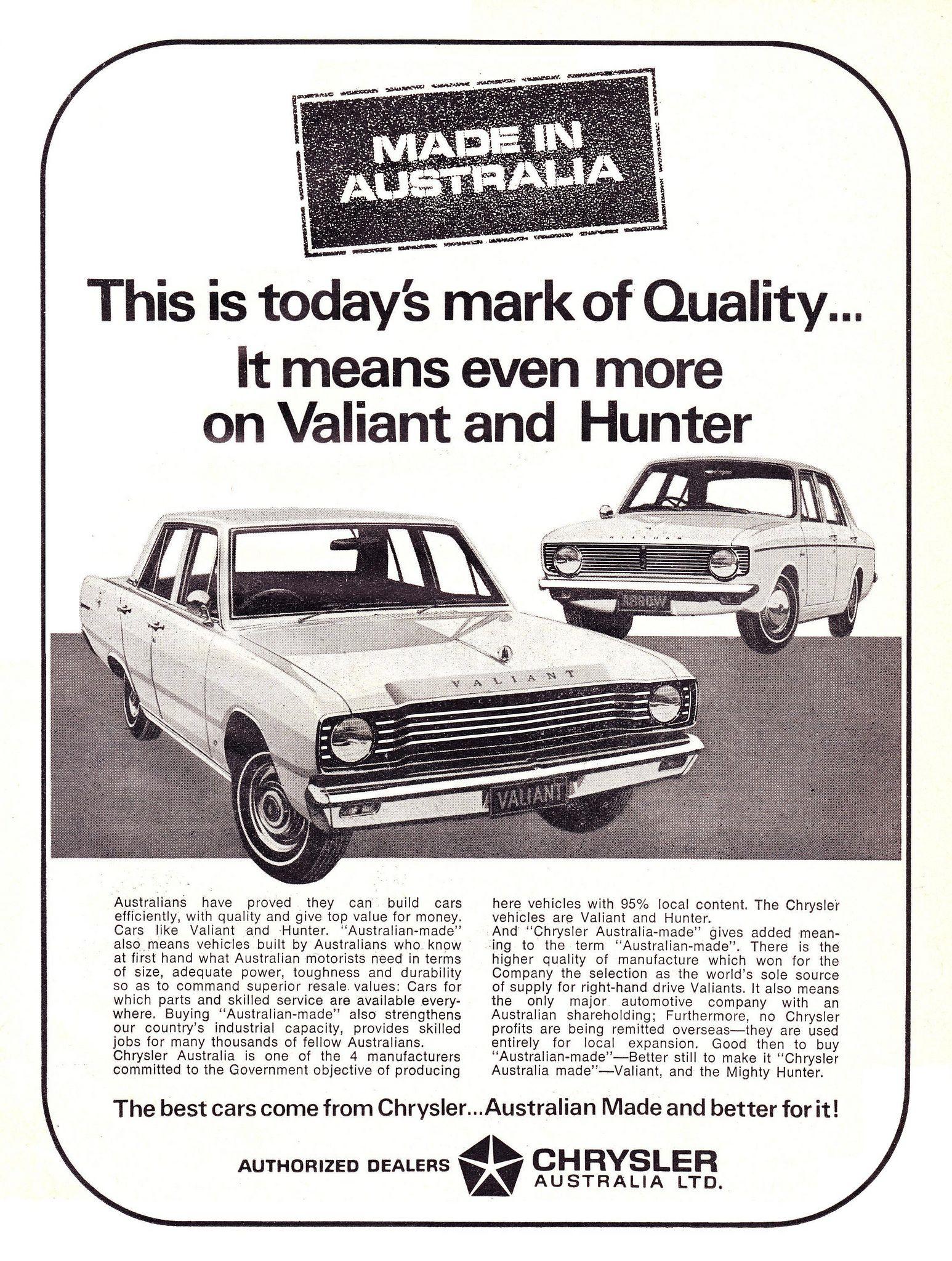 1968 VE Chrysler Valiant & Hillman Aussie Original Magazine ...
