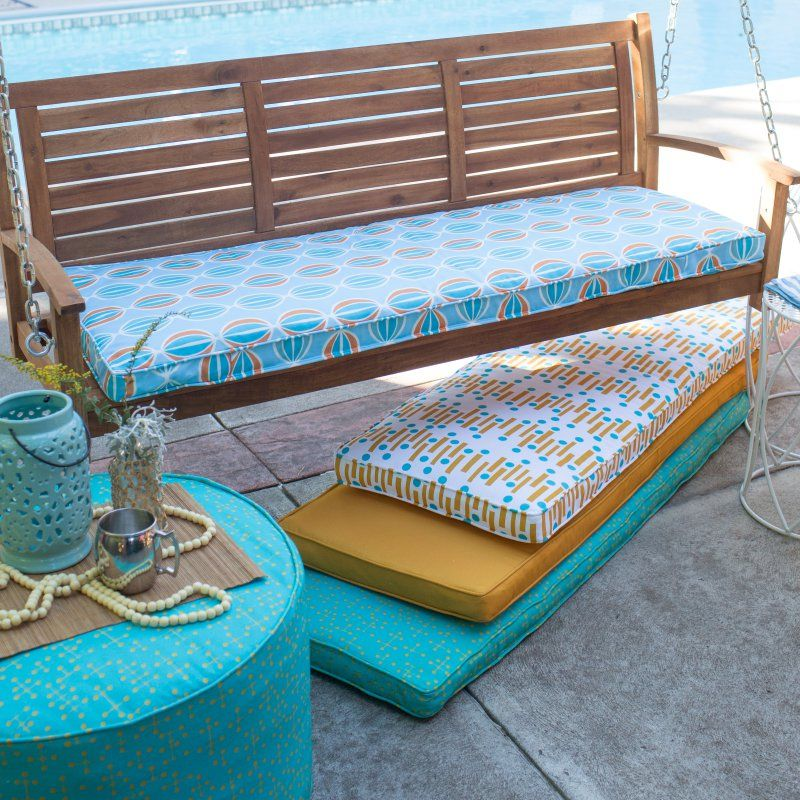 Coral Coast Mid-Century Modern Boxed Edge 55 in. Outdoor Bench Cushion - 9695PK1-4277C