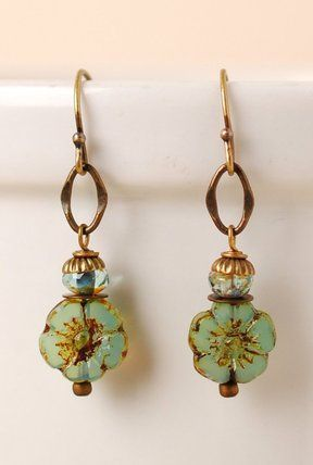 Rc016e Unique Handcrafted Designer Simple Czech Gl Antique Br Flower Dangle Earrings For Women Homemaderings Penntes Mujer Pinterest