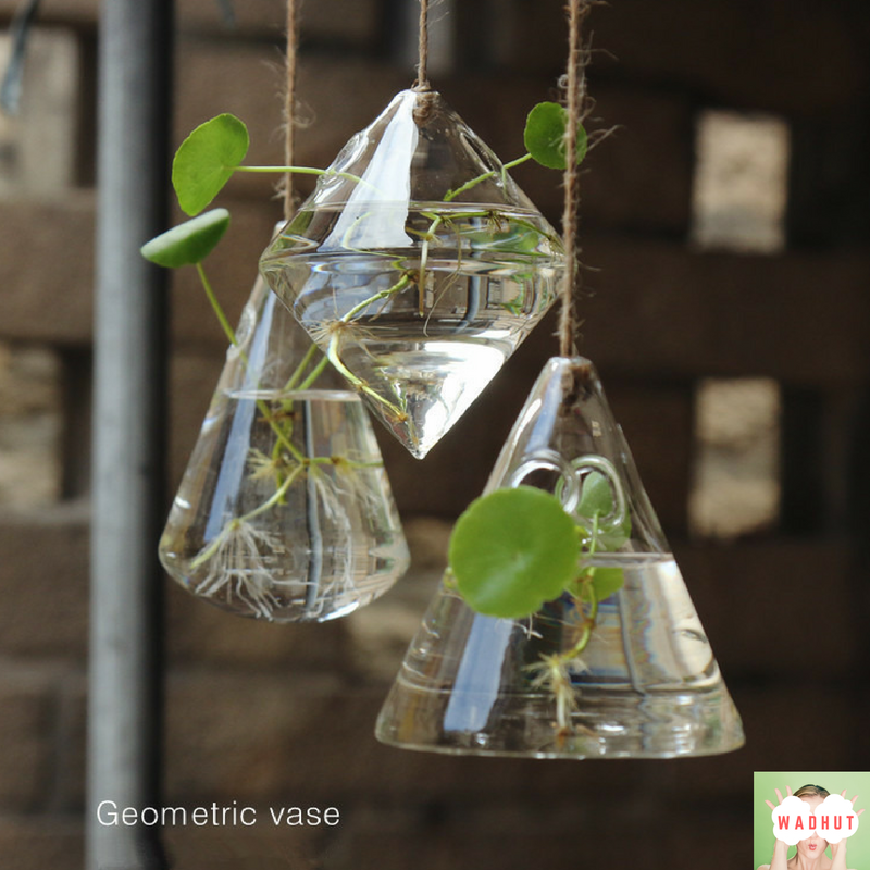 Imagine how perfect this would be inside your house or in your garden :)     #wadhut #hangingvase #vase #geometric #geometricvase #homedecor #DIY #plants