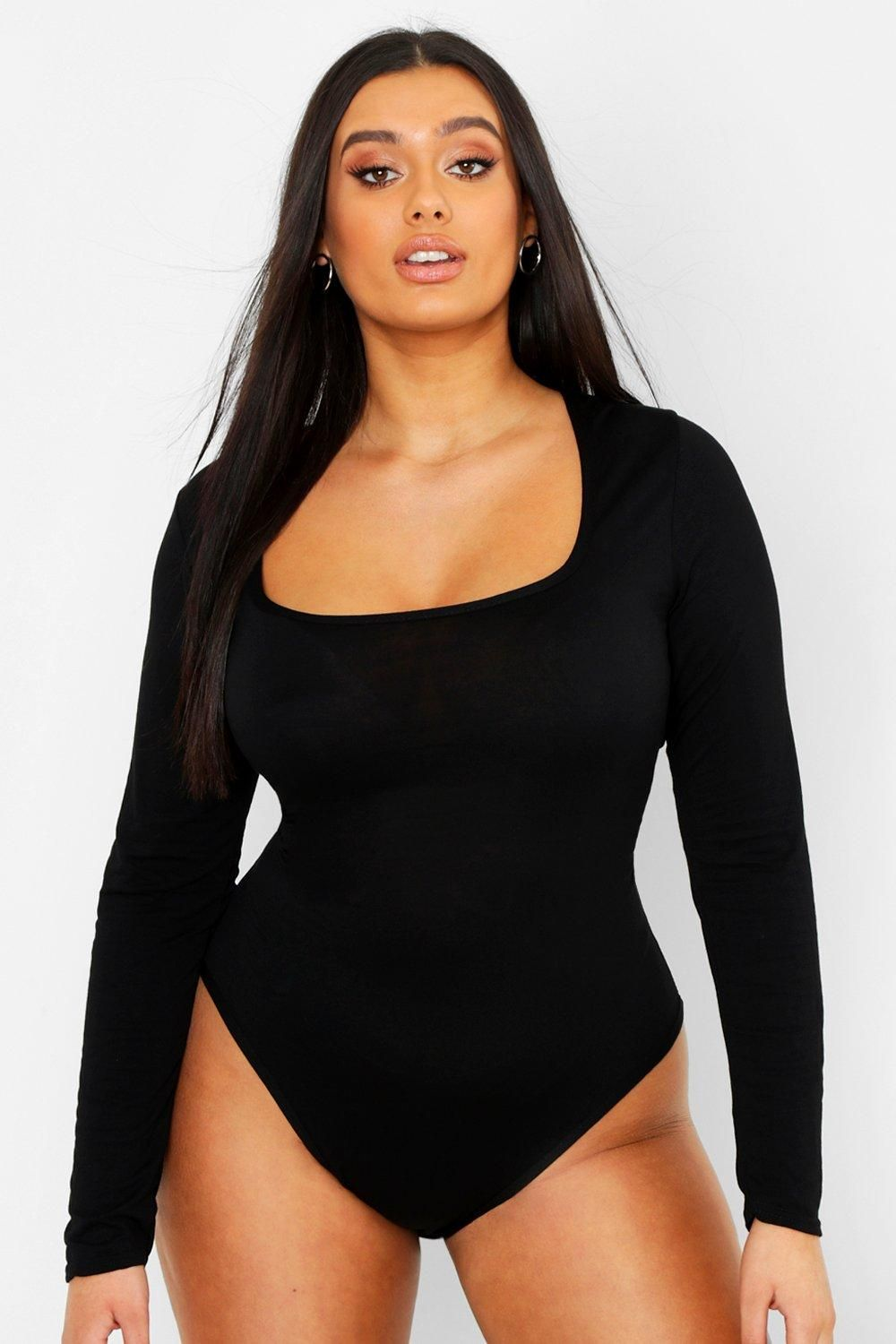 Plus Basic Square Neck Long Sleeve Bodysuit | boohoo in ...