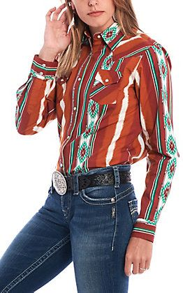 Wrangler Women's Checotah Rust Aztec Print Long Sleeve Western Shirt