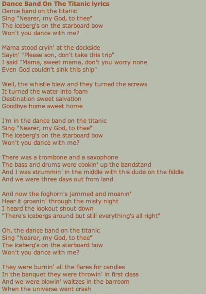 First Half Of Dance Band On The Titanic By Harry Chapin Dance Bands Lyrics Rock Quotes