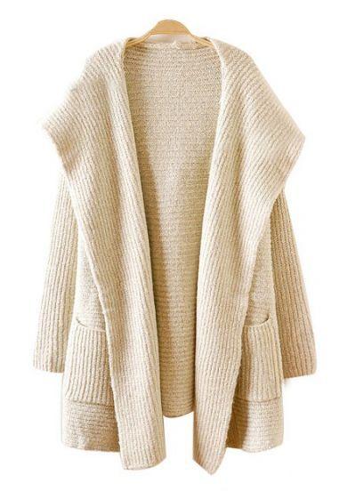 Cardigan básico de color Albaricoque con Bolsillos y capucha de manga larga  de la (rebeca de lana floja) f4af2ec0d49