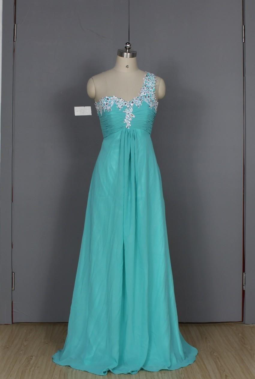 One shoulder appliques chiffon bridesmaid dresses women beading one