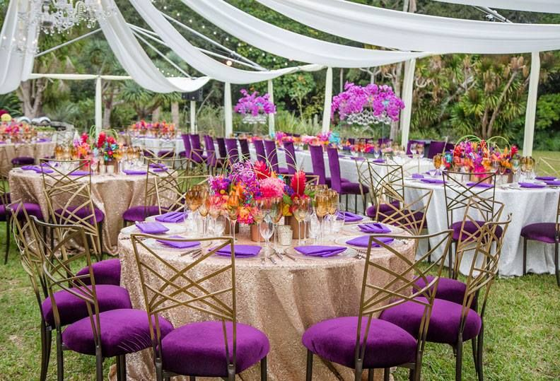 Radiant orchid table decor