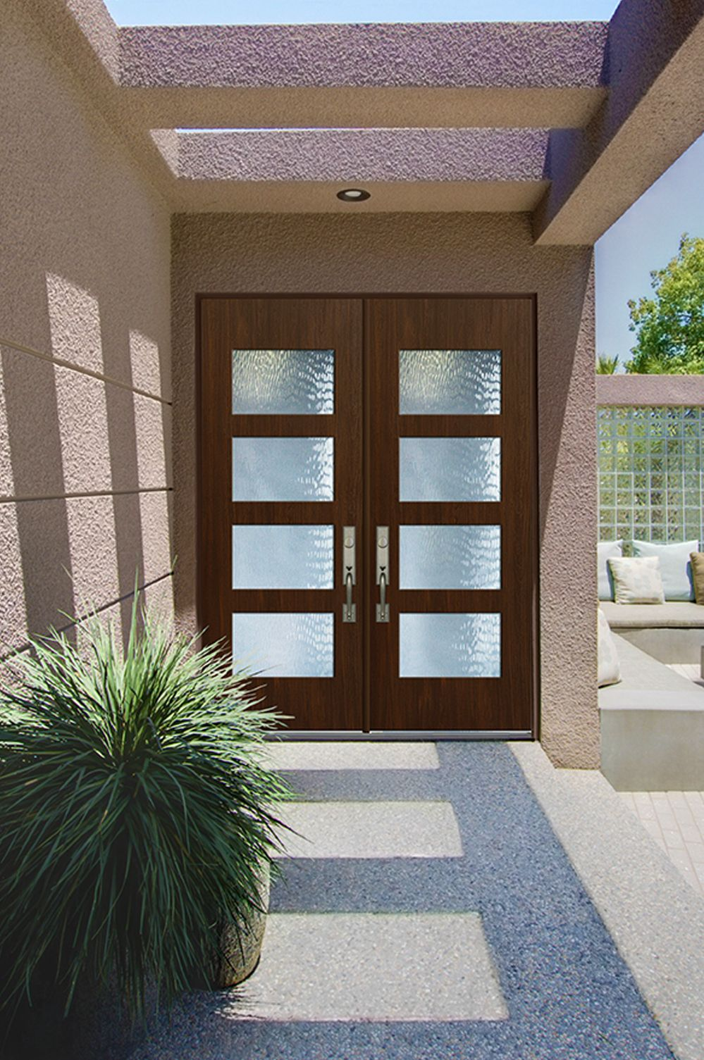 Glasscrafts Santa Monica Contemporary Door With True Flush Glazed