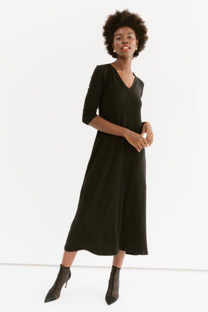 Marni - V-Neck Maxi Dress #blackmaxidress