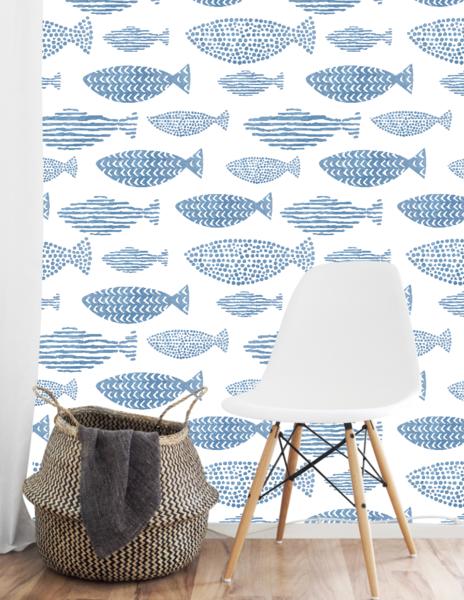 Watercolor Fish Wallpaper Peel Stick Blue And White Wallpaper Removable Wallpaper Beach Wall Decor