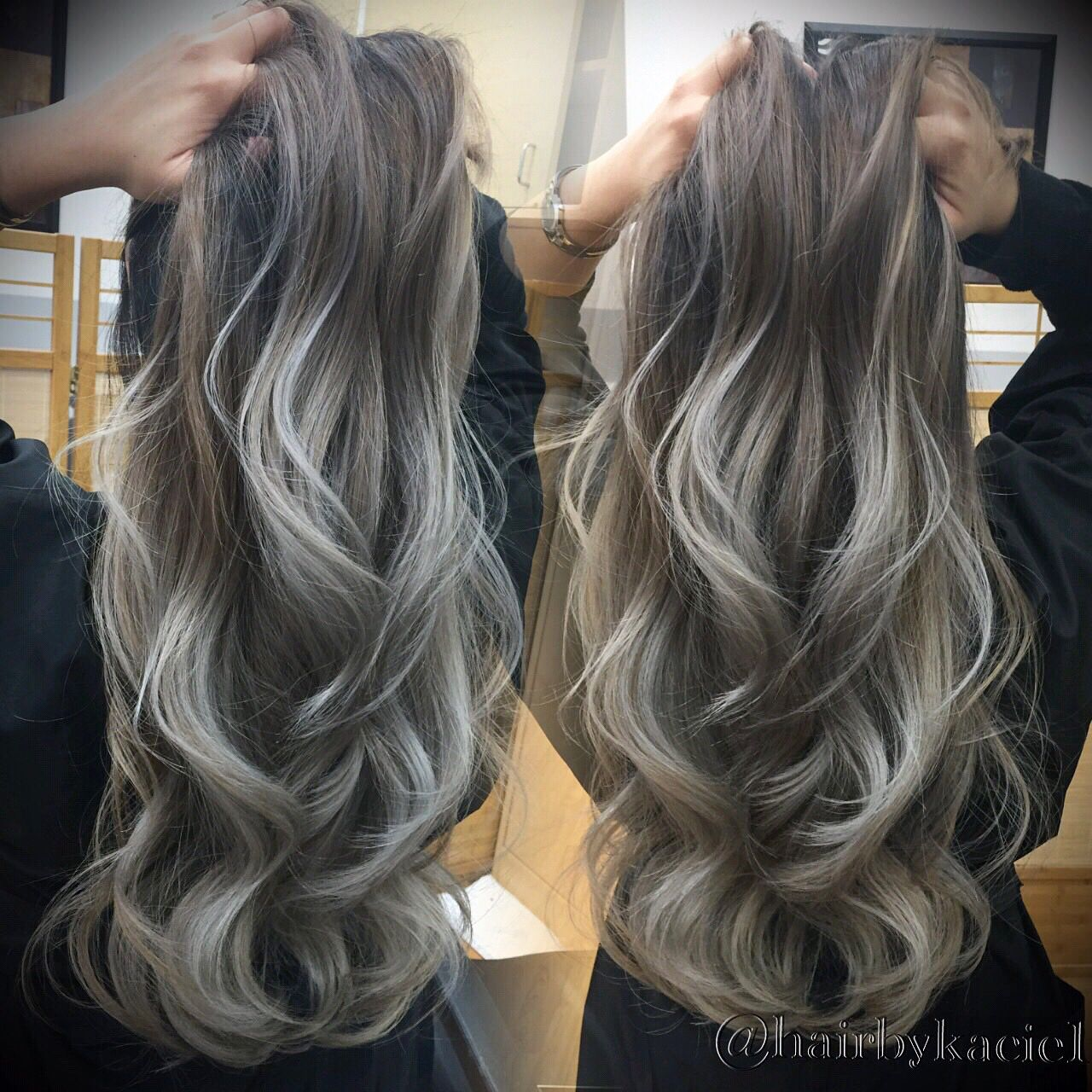 ash blonde with silver tips ombre balayage long layers. Black Bedroom Furniture Sets. Home Design Ideas