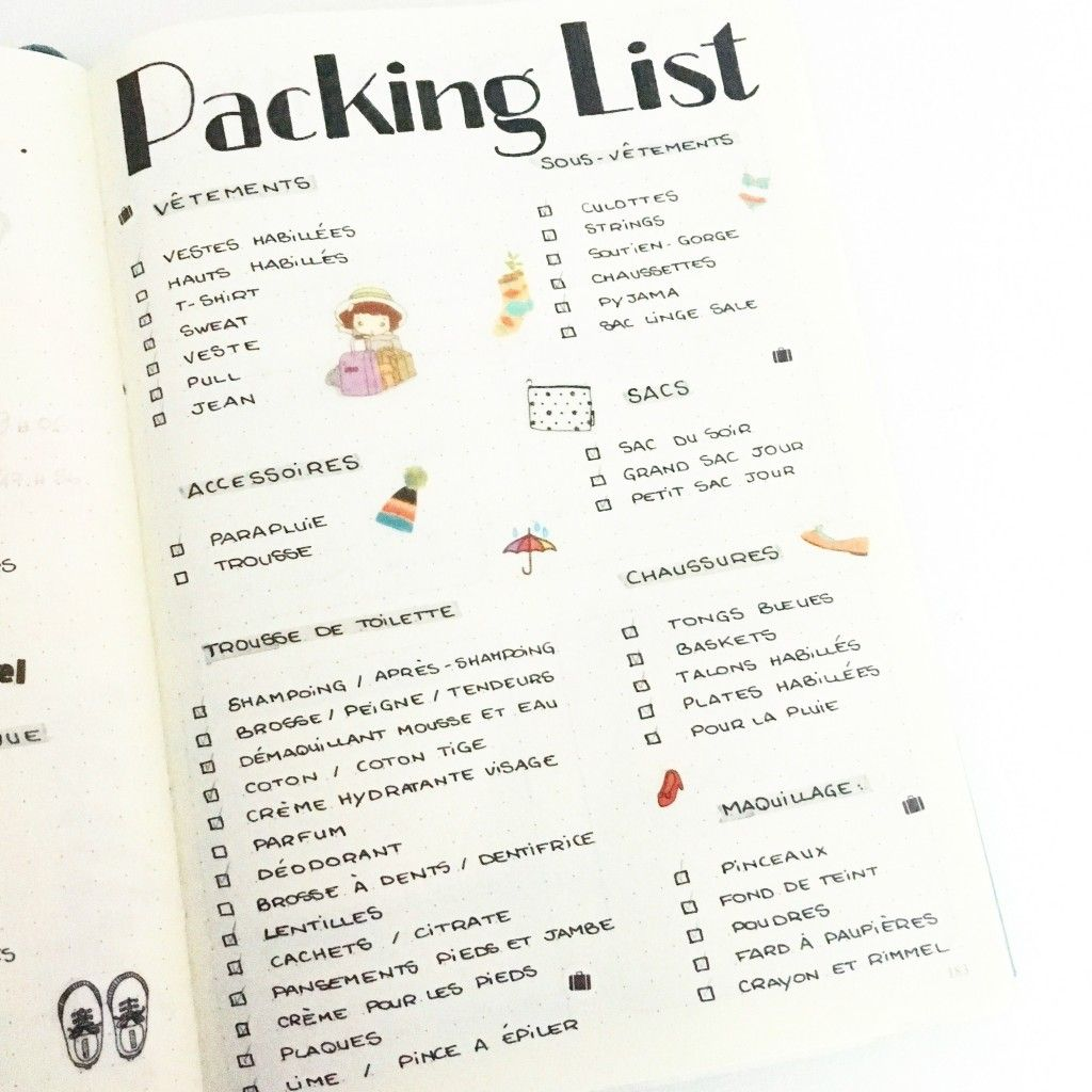 Packing List | Bullet Journal | Bullet Journal, Bullet ...