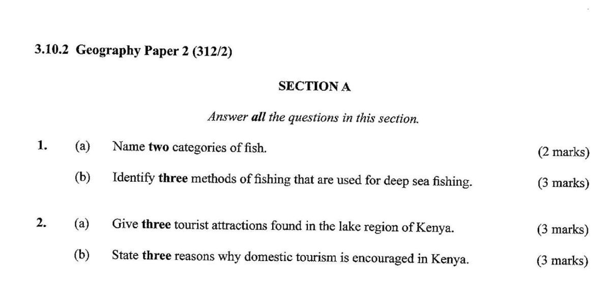 KCSE Geography Paper 2, 2018 with Marking Scheme (Answers
