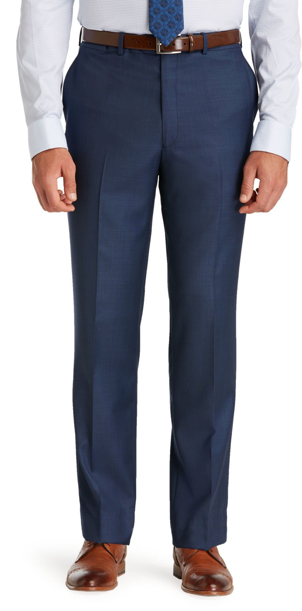 Tailored Big and Tall Traveller Flat-Front Dress Trousers