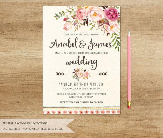 Fl Wedding Invitation Printable Rustic Boho Bohemia Country Invite