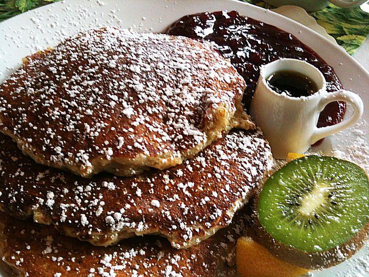 oatmeal pancakes at Alana's Café  Redwood City, CA