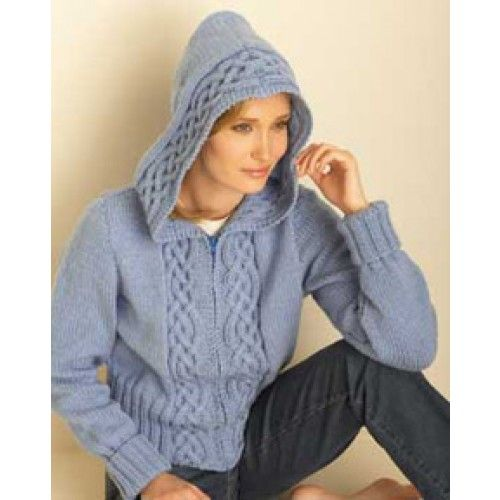 Mary Maxim - Free Cosy Cable Hooded Cardigan Knit Pattern Knitting Knitting...