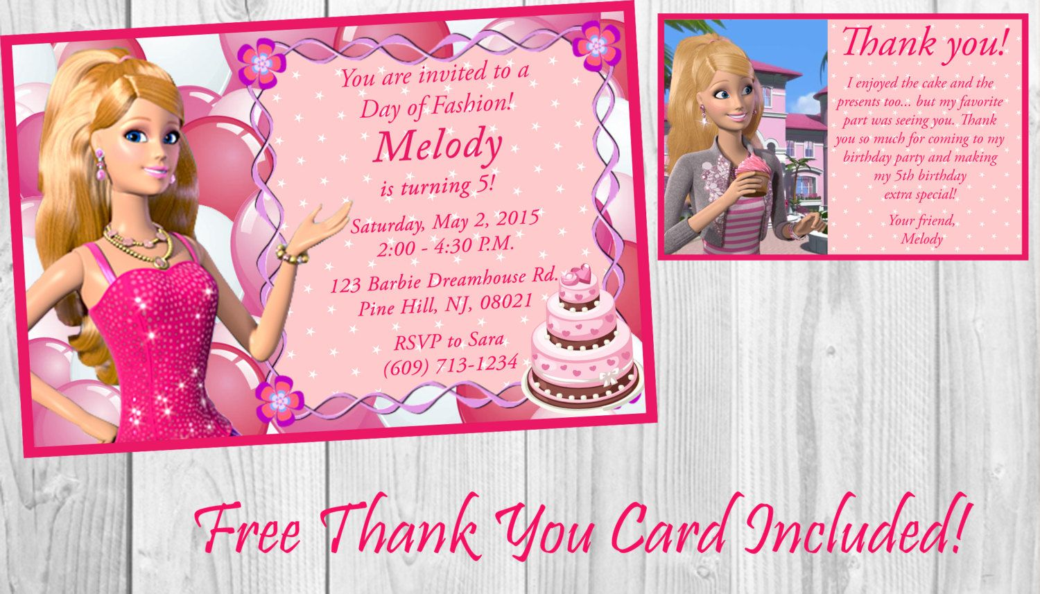 BARBIE PERSONALISED BIRTHDAY PARTY INVITATIONS STICKERS THANK YOU KIDS INVITES