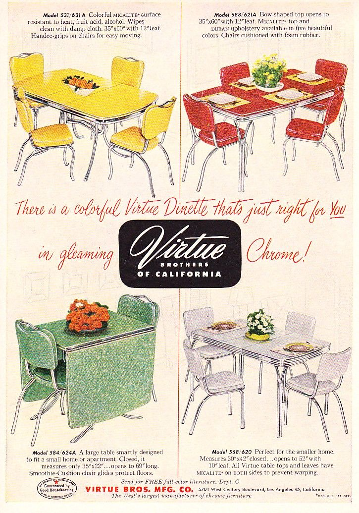 Chrome Dinette Chairs c. dianne zweig - kitsch 'n stuff: virtue brothers of california