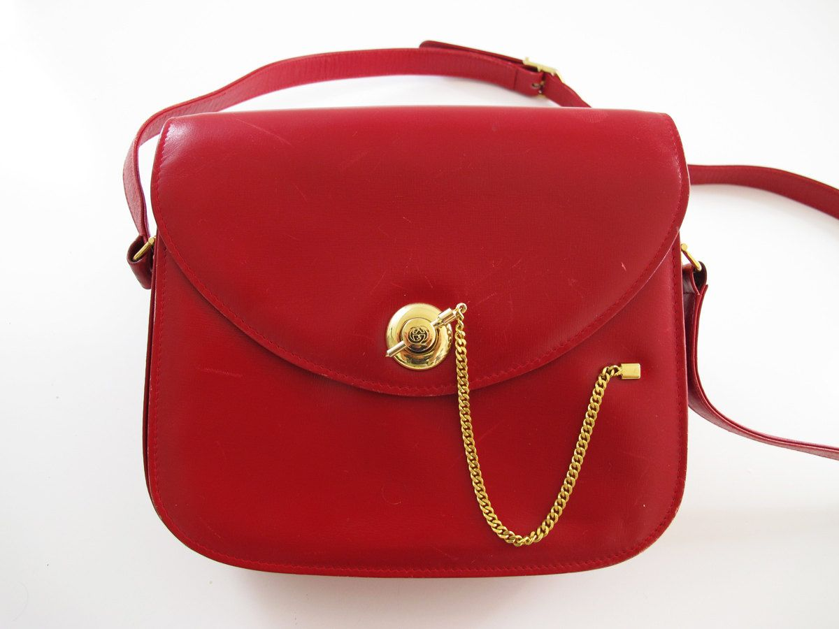 204b9668f86 FINAL SALE Vintage Gucci Red Cherry Leather Crossbody Purse ...