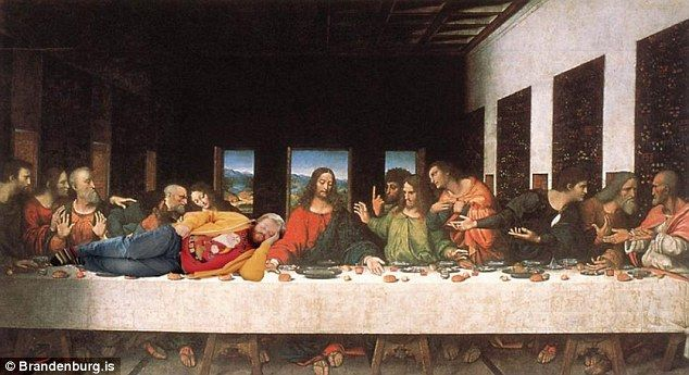 Stealing the limelight: Alfreðsson found himself pulling focus from the Son of God in Leonardo Da Vinci's masterpiece, The Last Supper