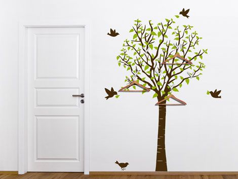 Nice Wandtattoo Baum Als Garderobe