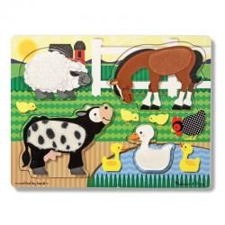 MELISSA & DOUG TOUCH AND FEEL PUZZLE - FARM ANIMALS
